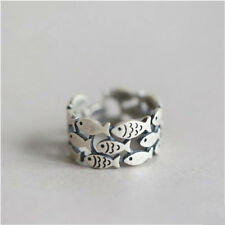 Vintage Women Adjustable Swimming Fish Band Matt Ring 925 Silver Open Ring