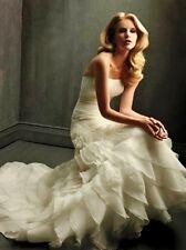 ALLURE BRIDAL MARCI $1399 NEW 10 ORGANZA SATIN FIT FLARE SLIMMING WEDDING DRESS
