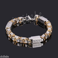 Men's Punk Byzantine Box Stainless Steel Chain Wristband Cuff Bangle Bracelet