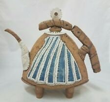 Vintage Whimsical Teapot  Clay Art 1990 Signed Ceramic