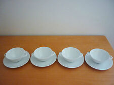 "SET OF 4 VINTAGE ""ARZBERG"" GERMANY WHITE DOUBLE HANDLED CREAM SOUP BOWLS&SAUCERS"