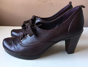 CLARKS Dark Burgundy Leather High Heel Booties Size 5