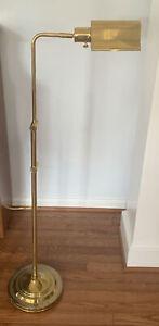 """VTG MCM Adjustable Height Heavy Brass Floor Lamp Pharmacy/Reading Light 36""""-53"""""""