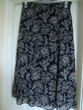 Navy Mix  MARKS & SPENCER  Long Floaty SKIRT  -  Size 14  -  FREE P&P
