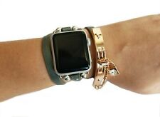 Boho Chic Apple Watch Band 38 40mm Grey Leather Strap Gold Chain iWatch Bracelet