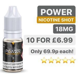 POWER Nicotine Shots Nic Salts 18mg 10ml 70/30 E Liquid Vape Juice QUALITY UK