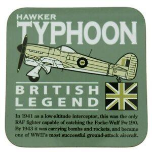 HAWKER TYPHOON (TIFFY) WW11 RAF FIGHTER/BOMBER AIRCRAFT GREEN  COASTER.