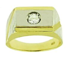 $4200   0.35Ct Two-Tone Solitaire Mens Diamond Ring 14Kt