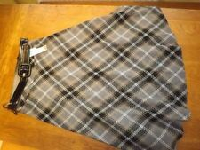 Calf Length Wool Checked A-line Skirts for Women