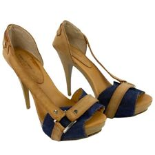 "Vittorio D'Firenze Heels 5"" Stiletto Pump Tan Blue Womens Size 9 Leather Mexico"