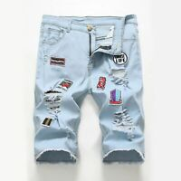 Men's Slim Patch Short Jeans Casual Pants Ripped Skinny Denim Shorts Trousers