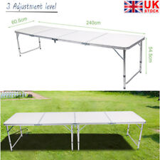 New 8FT Aluminum Folding Beer Pong Table for Camping Picnic Outdoor Party Games