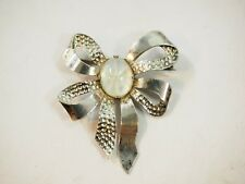 Vintage Opalescent Bow Pin Broche Sterling Silver