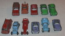 11 Vintage Tootsie Toys Metal Cars & Trucks Pumper,Tow & Panel Truck,Rabbit Etc.