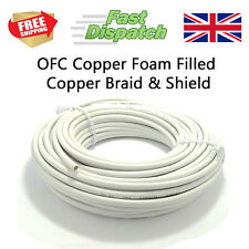 100M White Foam Filled Satellite TV Coaxial Cable OFC Copper and Braid