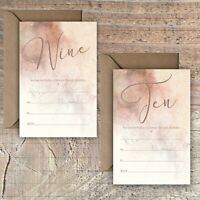 BIRTHDAY INVITATIONS BLANK ROSE GOLD & MOCHA MARBLE EFFECT 9TH, 10TH PACKS OF 10