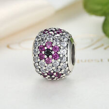 NEW 925 Sterling Silver Pink & Clear CZ Pave Round Charm Bead fit Bracelet Chain