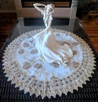 Doily 23 Inch Metallic Gold Rose Lace Victorian Table Topper Large