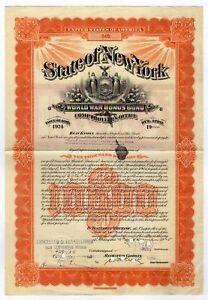 Frederick W. Vanderbilt - State of New York World War I Bonus Bond