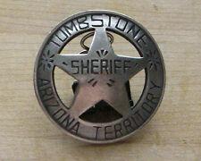 TOMBSTONE ARIZONA TERRITORY SHERIFF  BADGE  WITH PIN BACK WESTERN MARSHAL POLICE