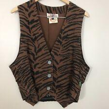 Vintage Gene Ewing BIS California Sunwash Animal Print Vest Zebra Medium