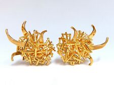 Modern Flaming Fused Stick 3D Handmade Clip On Earrings 18 Karat