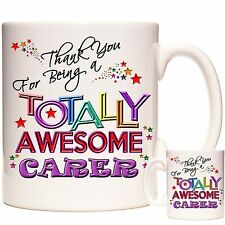 THANK YOU CARER GIFT MUG.  Can Be Personalised. Matching items available.