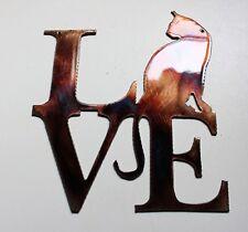 """LOVE my Cat Copper/Bronze Metal Wall Art 7"""" tall x 6"""" wide"""
