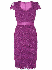 Jacques Vert Bright Purple Sweetheart Embellished Lace Layer Dress UK10 rrp £199