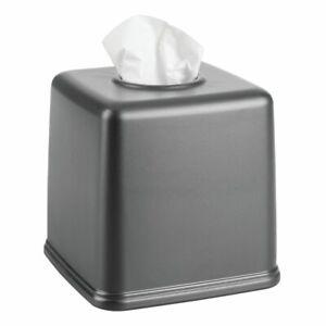 mDesign Plastic Square Facial Tissue Box Cover Holder for Bathroom - Dark Gray