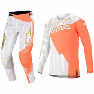 ALPINESTARS TECHSTAR MOTOCROSS MX PANTS JERSEY - FACTORY METAL ORANGE WHITE GOLD