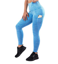 Mava High Waist Yoga Pants with Pockets - Fitness Workout Leggings Women Blue Xl