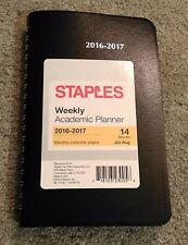 "Staples Weekly Academic Planner Schedule 2016-2017 14-Month Black 5.5"" x 8.5"""