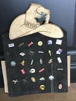 Vintage 28 Lot - Hat Pins Trucker Display Beer, Cat, Cowboy, Moosehead, Kenworth
