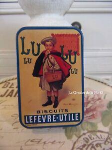 Boîte en métal BISCUITS LU Lefèvre Utile garçon style vintage 9x6cm NEUF tin box