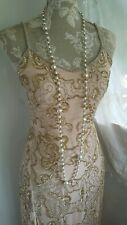 Vtg 1920,s style Downton Peaky nude beaded prom wedding dress size 6/8 uk