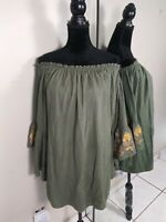 Callie Mac Boho Peasant Embroidered Blouse Top Womens size Medium Green