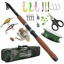 Fishing Rod And Reel Combo Full Kit Set Carrier Bag Pole Spinning Lures Hooks