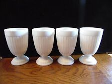 4 Vintage Milk Glass Footed Ribbed Water Goblets Tumblers