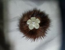 Real Brown Mink Fur Shoe Clips with Flower