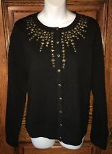 STUDIO WORKS Black Cotton Blend Cardigan SWEATER, Brass Colored Studs! Sz M