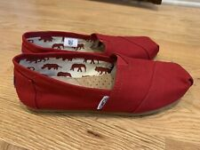 TOMS WOMENS Red Canvas Slip On Shoes U.S. Size 7 Worn Twice