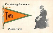 """Waiting for You in"" Tony Wisconsin~Please Hurry~Lady With Coat On~1913 Pennant"