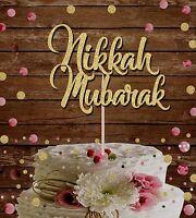 NIKKAH MUBARAK GLITTER CAKE TOPPER ISLAMIC WEDDING, BRIDAL