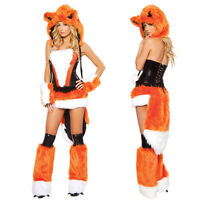 Adult Women Fluffy Fox Costume Halloween Party Animal Cosplay  Fancy Dress Zsell