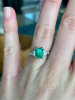 1.2 Carat Emerald and Diamond Ring