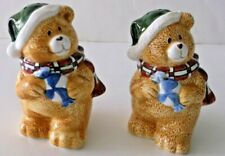 Christmas Holiday Teddy Bear Salt & Pepper Shakers Ceramic Mint Condition