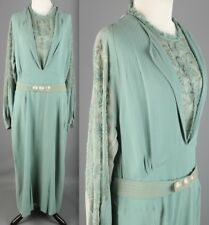 VTG 1930s Women's Seafoam Rayon Piqué Rayon Agnés Adaptation Dress #1754 30s
