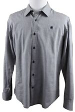 NEW G-Star RAW Correct Core Long Sleeve Oxford Shirt MENS 2XL XXL Gray Cotton
