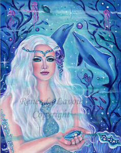 Original 11x14 acrylic mermaid pearl theme painting dolphins RENEE L. LAVOIE
